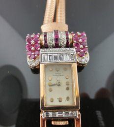 Ferro Jewelers - Watches | Patek Philippe & Co. 14k & Platinum Ruby and Diamond Watch