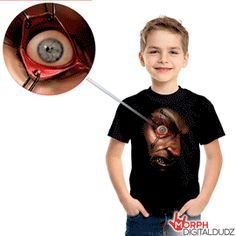 It's coming for you! Download the app, put your smart phone into pocket behind graphic and moving eyeball in Creepy Face Youth T-shirt will gross everyone out. AWARD WINNING Halloween costume for sure! Hurry quantities limited.