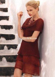 Многослойное платье с воротником