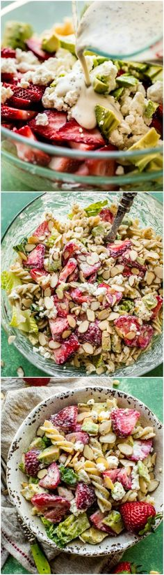 Creamy strawberry feta pasta salad is an easy summer pasta salad! It's super flavorful, feeds a crowd, and you can make it ahead. Recipe on sallysbakingaddiction.com