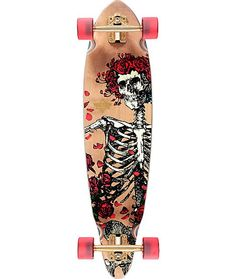 Cruise the streets in iconic style with a Grateful Dead rose skeleton graphic on a responsive pintail design and a woodburned Dusters Grateful Dead skull graphic on the top.