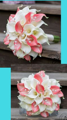 Calla lily wedding bouquet, calla lilly bouquet, coral and ivory wedding bouquet, bridal bouquet with crystals and pearls, silk bouquet #ad