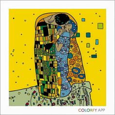 The Kiss by Gustav Klimt.  Colorfy Coloring Book App.