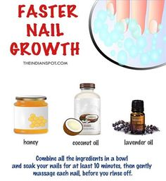 Honey along with coconut oil and lavender oil help to improve blood circulation which will repair damaged nails and promote nail growth. Things you need: Half cup of honey and coconut oil, few drops of Lavender oil. Method: Combine honey and coconut oil Natural Coconut Oil, Coconut Oil For Acne, Benefits Of Coconut Oil, Lavender Benefits, Oil Benefits, Nail Growth Faster, Diy Nails Soak, Fast Nail, Damaged Nails