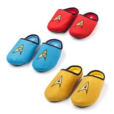 Star Trek Slippers - These look like very comfortable slippers, with non-skid dots on the bottom.  They come in command gold, science blue, and engineering (or red-shirt) red.  Also on this page are other fun Star Trek items for bed and bath.