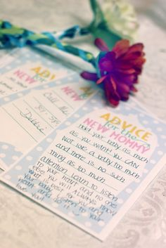 Give mommy-to-be personal sweet little notes of advice at baby shower.