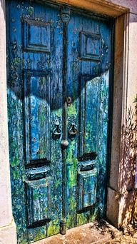 Blue over green, distressed....