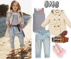 Kindermode Mädchenoutfit Idee - Trenchcoat, Jeans, Top, Vans - cool und lässig kombiniert  -cool Kids