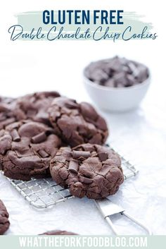 Bakery Style Gluten Free Double Chocolate Chip Cookies are thick, crisp on the edges, and soft + che Gluten Free Chocolate Chip Cookie Recipe, Chocolate Chip Shortbread Cookies, Toffee Cookies, Double Chocolate Chip Cookies, Gluten Free Cookies, Gluten Free Desserts, Yummy Cookies, Cookie Recipes, Dessert Recipes