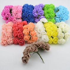 DIY bola de la flor 12 unids/lote Simulación Mini espuma flor color de Rosa Artificial guirnalda de flores decoración de La Boda de Flores Nupcial del tocado