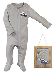Wild Baby Organic Cotton Zipper Baby Footie with Gift Box 912 Months Panda * Click image for more details. (This is an affiliate link) #BabyBoyFootiesandRompers