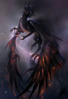 Ruthenium/ Void dragon, having suppressed/ destroyed another's power (kirin by sandara on DeviantArt) Mythical Creatures Art, Mythological Creatures, Magical Creatures, Dark Creatures, Cool Dragons, Pics Of Dragons, Dragon Artwork, Dragon Pictures, Dragon Pics