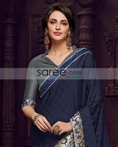 Grey collar v-neck blouse Sexy Blouse, Blouse Outfit, Collar Blouse, V Neck Blouse, Fancy Blouse Designs, Saree Blouse Designs, Indian Sarees Online, Neck Pattern, Indian Wear