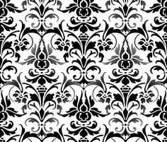 Mists On The Seine  Damask ~ Black & White   ~ by PeacoquetteDesigns on Spoonflower ~ bespoke fabric, wallpaper, wall decals & gift wrap ~ Join PD  ~ https://www.facebook.com/PeacoquetteDesigns