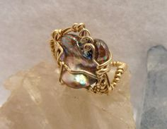 Fresh water baroque pearl bead ring wrapped in 14k by BerlyDesigns, $24.00