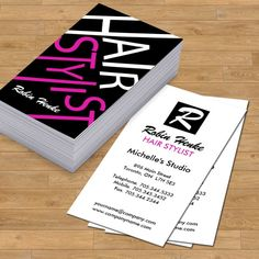 Fully customizable monogram hair salon business cards designed by Colourful Designs Inc.