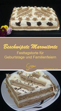 Beschwipste Maronitorte - ein Rezept für eine köstliche Torte für viele Anlässe (Geburtstag, Weihnachten, Festtage, usw.) #Torte #Maroni Vanilla Cake, Tiramisu, Sweets, Ethnic Recipes, Party, Desserts, Food, Queen, Fitness