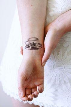 Small teacup temporary tattoo / tea temporary tattoo by Tattoorary Cup Of Tea Tattoo, Coffee Cup Tattoo, Teacup Tattoo, Coffee Tattoos, Full Body Tattoo, Get A Tattoo, Hp Tattoo, Tiny Tattoo, Tattoo Flash