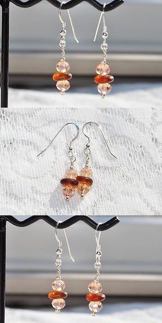 Beach Glass - Surf-Tumbled 41221: Sea Glass Jewelry Beach Earrings Sterling Silver Amber Drop With Crystals 3943C -> BUY IT NOW ONLY: $32.99 on eBay!