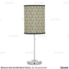 Abstract Zen Doodle Heart Circle Twirls pattern Table Lamp