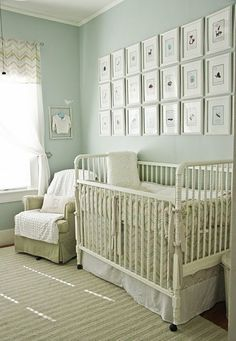 Love the wall of frames ... doesn't even need to be in a baby's room.  But oh, it's darling with the Jenny Lind crib.