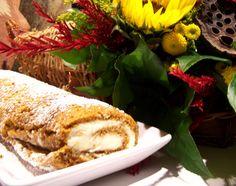 Pumpkin Roulade with Ginger Buttercream #Thanksgiving #desserts