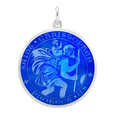 925 Sterling Silver Rhodium-plated Blue Enameled Oval Saint Christopher Medal Charm Pendant