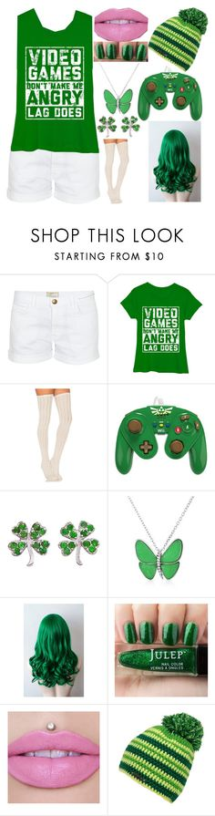 """Green Hair, but with video games!"" by kiara-fleming ❤ liked on Polyvore featuring Current/Elliott, Free People, Jennifer Meyer Jewelry and Bling Jewelry"