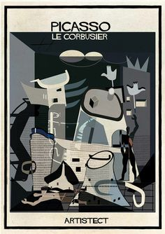federico babina intersects art with stylistically similar architecture picasso+Corb effect