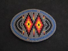 Auth.Native American Indian Beaded Belt Buckle by Edward Upshaw #BeltBuckles