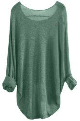 Chic Scoop Neck Asymmetrical Long Sleeve Sweater For Women (DEEP GREEN,L) | Sammydress.com Mobile