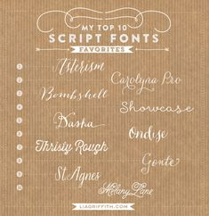 My Top Ten Favorite Script Fonts | Lia Griffith. TIPOS DE LETRA