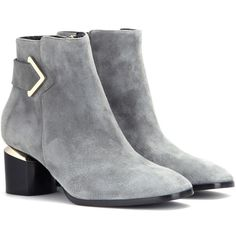 Nicholas Kirkwood Brannagh Suede Ankle Boots (4 080 SEK) ❤ liked on Polyvore featuring shoes, boots, ankle booties, ankle boots, heels, booties, grey, suede boots, suede ankle boots and heeled ankle boots