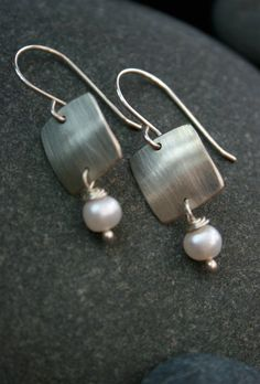Brushed silver square and pearl earrings by metalpetalsstudio, $52.00