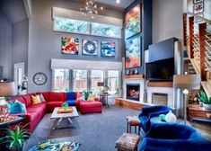 Living room design ideas inspiration and pictures Red Living Room Decor, Colourful Living Room, Eclectic Living Room, Transitional Living Rooms, Living Room Colors, Living Room Modern, Living Room Sofa, Home Living Room, Interior Design Living Room