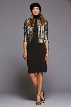 Black Turtle Neck Sweater Dress Paired with a Silver Metallic Fringed Waist Jacket by Polo Ralph Lauren, Look #26