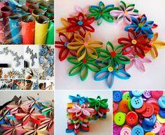 3D Button Flower Art