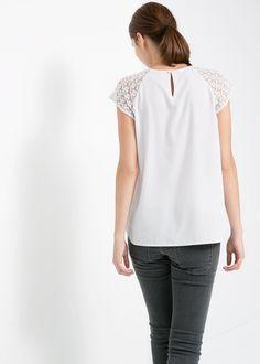 Blusa detalle encaje - Camisas de Mujer   MANGO México