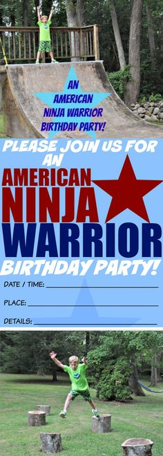 How to Throw an American Ninja Warrior Birthday Party! Birthday Party At Home, Birthday Party Games, Birthday Party Invitations, 11th Birthday, Birthday Ideas, Kids Obstacle Course, Kids Party Themes, Party Ideas, American Ninja Warrior
