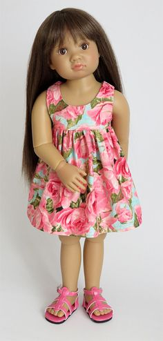 Kidz 'n' Cats Doll Clothes - Aqua Dress with Pink Roses