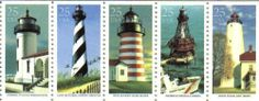 1990 LIGHTHOUSES #2474a Booklet Pane of 5 x 25 cents US Postage Stamps . $5.25. BOOKLET PANE OF 5 STAMPS. ~ On April 26, 1990 at Washington DC., the USPS depicted five historic U.S. lighthouses in celebration of the U.S. Lighthouse Service's Bicentennial. The Lighthouse Service is still an important part of today's modern Coast Guard, which also celebrated its bicentennial in 1990. The lighthouses shown on these stamps are the Admiralty Head (Washington), Cape Hatteras (North...