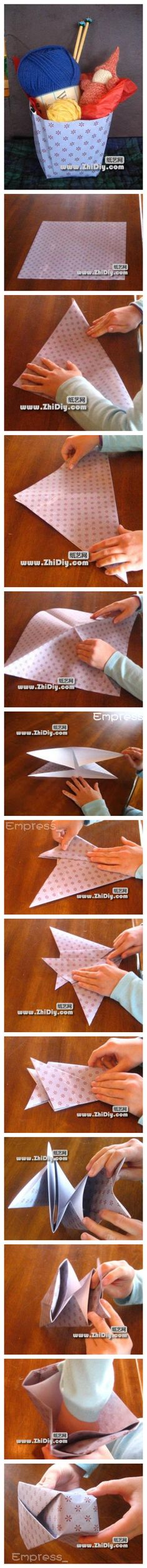 41 Ideas for origami paper sheets gift bags Gato Origami, Origami And Kirigami, Origami Paper Art, Origami Folding, Paper Folding, Origami Easy, Diy Paper Bag, Papier Diy, Paper Basket