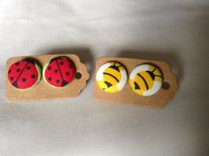 Lucky Bee 2 Pairs of Button Earrings by BeckyABoutique on Etsy
