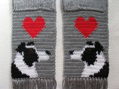 Border Collie Scarf. Grey crochet and knit scarf with por hooknsaw