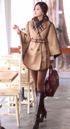 Morpheus Boutique  - Tan Double Breasted Plaid Kimono Sleeve Belted Jacket Coat