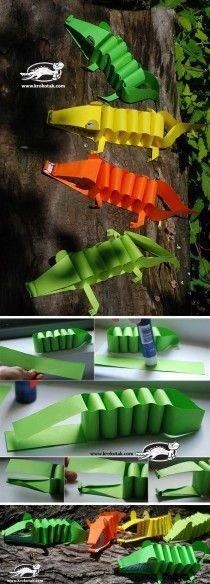Krokodil - papier - knippen - vouwen - knutselen