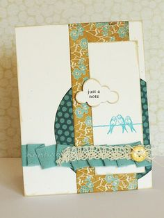 """just a note"" card ::: want the 3 birds on a wire stamp! ----bird stamp from SU"