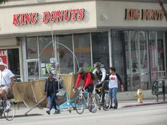 bikers near king donuts. Probably stopped for donuts and kool aid (the combination this place is known for)