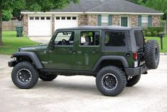 Black Wheels for Jeep | 08 Jeep Green Metallic Wrangler Unlimited Rubicon with some extra ...