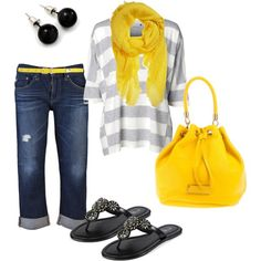 I like the pop of yellow and love the top and capris but wouldn't wear the belt...